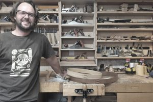 Furniture maker Tom Trimmins in his Islington Workshop