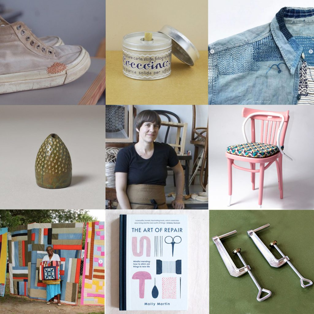 A grid of nine images, including a pair of repaired shoes, a stainless steel pot of glue, a beautifully darned denim jacket, a thimble from a museum, a women smiling and upholstering chairs, a bright pink wooden chair, a black woman artist surrounded by quilts, a book about the art of repair and two steel clamps.